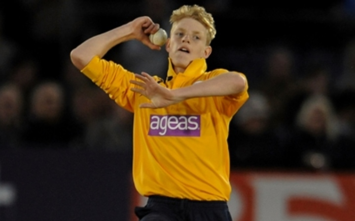 Taylor getting ready to bowl in the 2014 T20 Blast campaign when he was a teenager