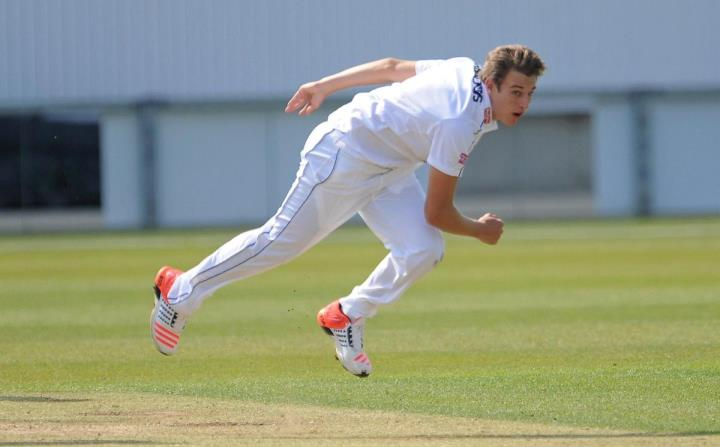Wheal flies through the air after delivering a ball for Hampshire in his breakthrough season