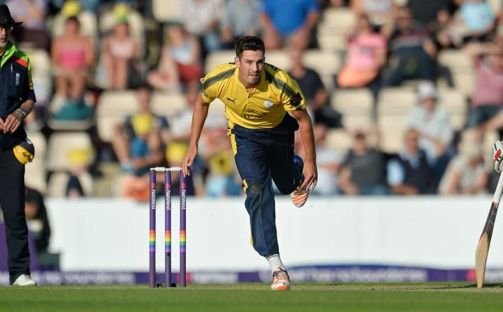 Wood on his follow-through after bowling in the T20 Blast game with Glamorgan at the Ageas Bowl