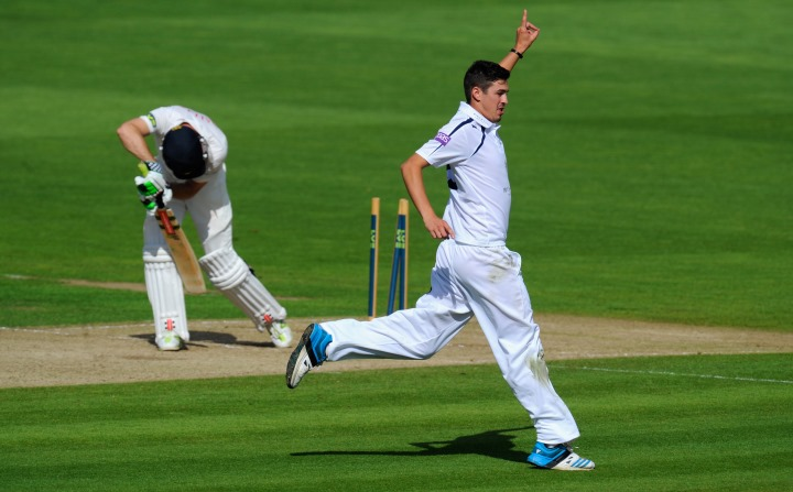 Wood wheels away after taking a County Championship wicket in the 2014 season
