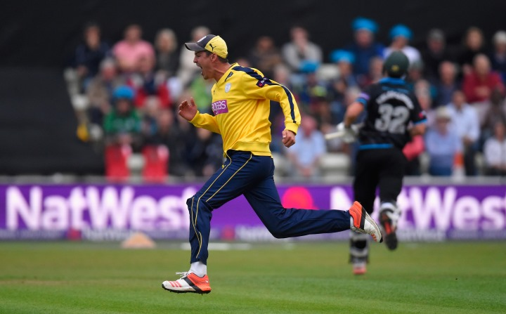 Wood runs around in celebration during Hampshire's T20 Blast quarter-final at Worcestershire