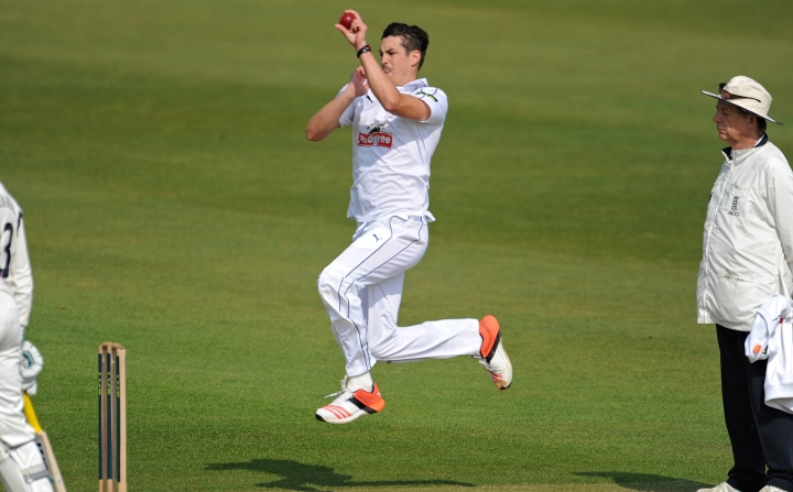 Wood prepares to bowl in a County Championship clash with Warwickshire in 2014