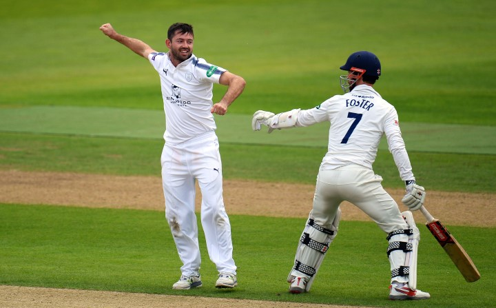Holland celebrates after taking the wicket of James Foster in Hampshire's County Championship fixture against Essex at the Ageas Bowl