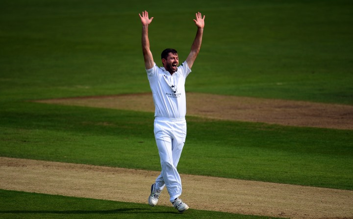 Holland appeals for Hampshire in their County Championship clash against Lancashire at the Ageas Bowl during the 2017 campaign
