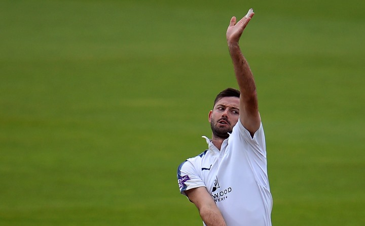 Holland charging into bowl during Hampshire's first-ever Day/Night County Championship fixture at the Ageas Bowl in 2017