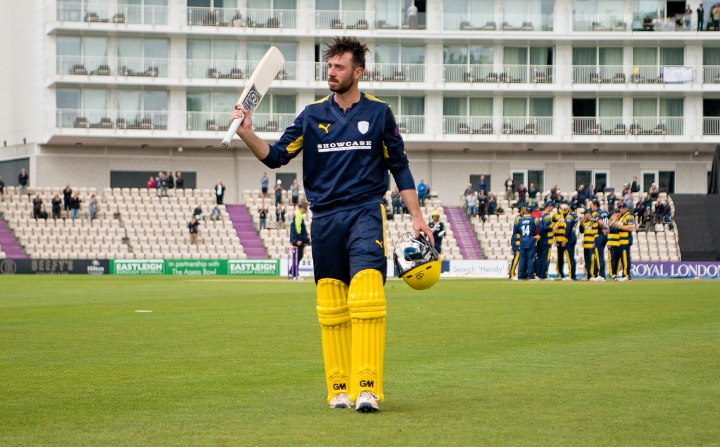 Vince walks off after scoring 178 in the One-Day Cup against Glamorgan in 2017
