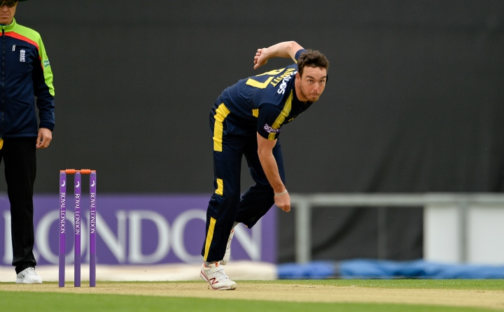 Abbott bowling in Hampshire's One-Day Cup clash with Middlesex at the Ageas Bowl in May