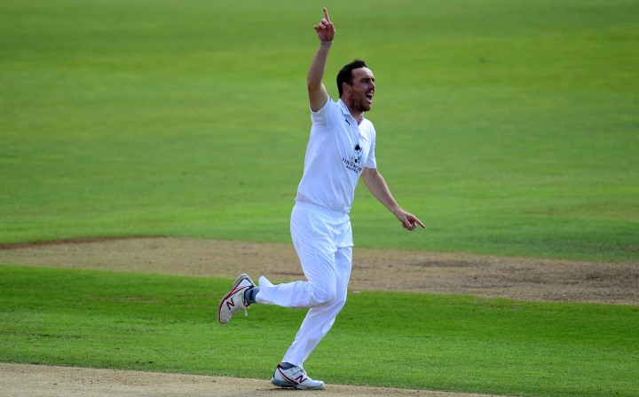 Abbott celebrates after taking 6-20 against Essex in the 2017 County Championship clash at the Ageas Bowl
