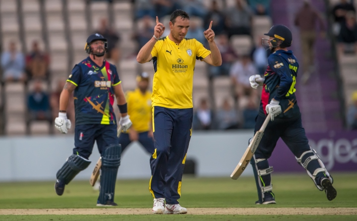 Abbott celebrates after taking the wicket of Darren Stevens in their T20 clash with Kent at the Ageas Bowl