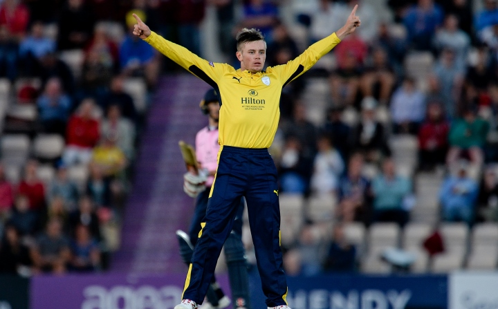 Crane celebrates taking yet another wicket in Hampshire's T20 Blast win against Middlesex in 2017