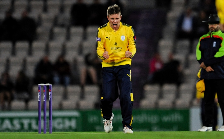Crane punches the air after taking a wicket in their T20 Blast clash with Sussex at the Ageas Bowl in 2017