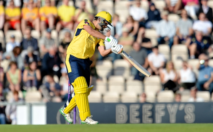 Rossouw smashes the ball over cover in Hampshire's T20 Blast win over Middlesex at the Ageas Bowl