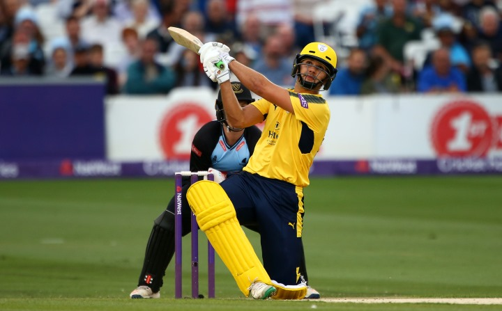 Rossouw pummels the ball over the leg-side in Hampshire's T20 Blast victory over Sussex at Hove