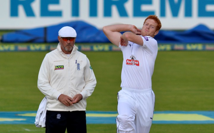 Stevenson about to bowl in Hampshire's clash with Yorkshire in the County Championship back in 2015