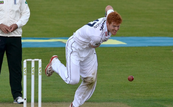 Stevenson bowls in a County Championship clash against Yorkshire in 2016