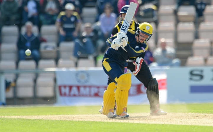 Alsop flicks the ball through the leg-side in their One-Day cup tie at home to Gloucestershire in May 2017